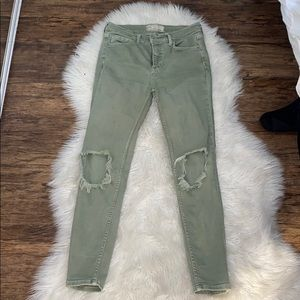 Free People Jeans - Free people Green Distressed Skinny Jeans